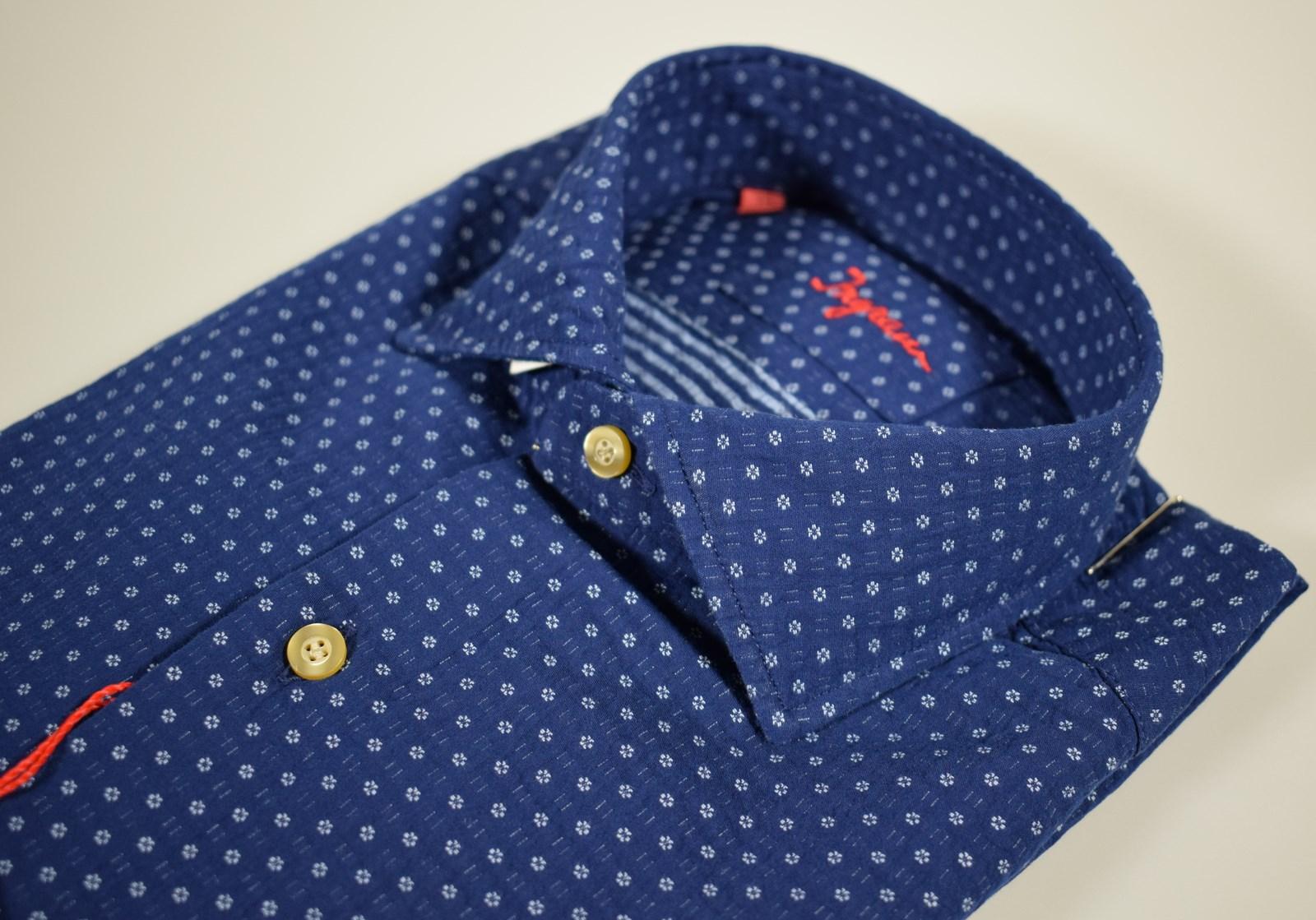 b5232708f8 Dettagli su Camicia moda Ingram in cotone slim fit Blu micro disegno  azzurro collo francese